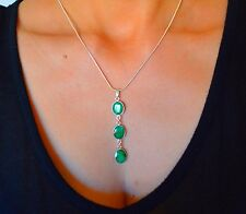 NATURAL EMERALD Oval Silver LARIAT Pendant Handcrafted