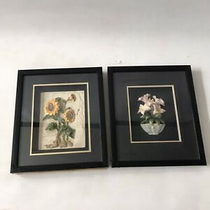 2 X Vintage Wall Art Hanging Box Frame Pictures 3D Sunflower Lily Ceramic 33x28c