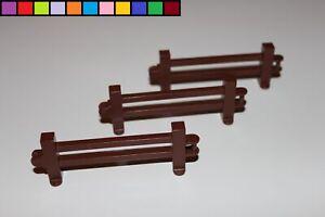Lego Duplo - 3x Zaun Zäune - Geländer Gatter Absperrung - braun kurz