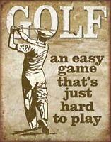Golf - Easy Game Vintage Retro Tin Metal Sign 13 x 16in