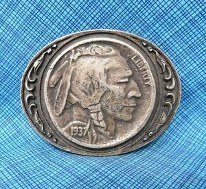 Vintage Indian Head Nickel Belt Buckle - Western Style....................DBD411