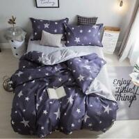 3D White Stars Navy Blue KEP7174 Bed Pillowcases Quilt Duvet Cover Kay