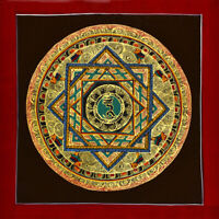 BLESSED TIBETAN 100% HAND PAINTED MINERAL THANGKA: HEALING WORD OF BODHISATTVA