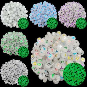 20Pcs 10mm Bronzing Luminous Letter Loose Beads DIY For Jewelry Making Pendant