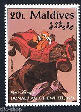 WALT DISNEY UN FRANCOBOLLO MALDIVES DONALD AND THE WHEEL AUTO 20L - 1961 nuovo