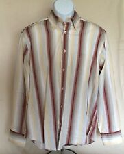 Pre-owned Bugatchi Uomo Long Sleeve Dress Shirt Stripe M Maroon Gray Yellow Wht