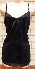 G21 BLACK FRILLY FLARE WRINKLE STRAPPY BAGGY PARTY EVENING TUNIC TOP BLOUSE 12 M