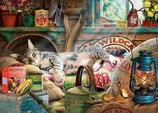 Gibsons - 500 XL BIG PIECE JIGSAW PUZZLE - Snoozing In The Shed Tabby Cat