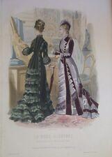 GRAVURE EN COULEUR 19è MODE ILLUSTREE 1877 N° 45 TOILETTES MADAME BREANT CASTEL