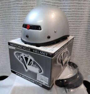 NEW Vega XTS Motorcycle Half Helmet Silver / Snap on Visor 7200-116 Size: XXL