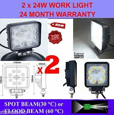 2x 24W 12V LED WORK LIGHT TRUCK TRAILER BOAT OFFROAD FLOOD BEAM LAMP 4WD SUV CAR