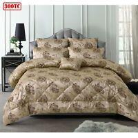 6 Piece 300TC Regal Rose Latte Jacquard Comforter Set by Accessorize - QUEEN KIN