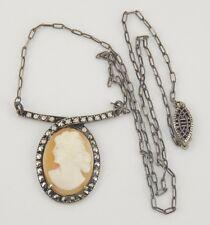 Vintage / Antique Art Deco 835 Sterling Silver Cameo Necklace