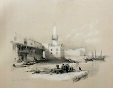 David Roberts FIRST EDITION 1840', Scene of Suez, Egypt, Large!  Lithograph