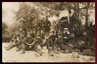 WW1 FRENCH ARMY WAR PLATOON MEAL TIME ANTIQUE RPPC POSTCARD PHOTO