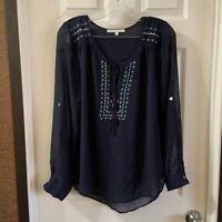 Daniel Rainn Women's Navy Blue Sheer Embroidered Scoop Neck Blouse size M