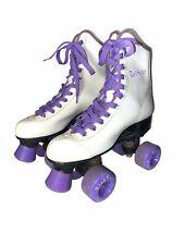Vintage 80s Seneca Rink Master Roller Skates Womens Size 8 White Purple 7040N