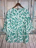 JM Collection Women's Plus Teal/White Button Front Shirt Top 16W long sleeve D2