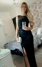 LIPSY SIZE 10 BLACK 3D FLOWER EMBROIDERED SEQUIN MAXI DRESS BNWT 7998 @ £80 NEXT