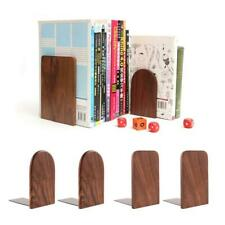 2Pcs Hand Crafted Wooden Bookends with Metal Base Heavy Duty Walnut Book Stand