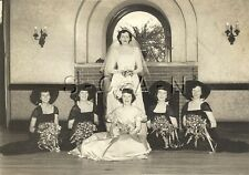 Original Vintage 40s Large (7.0 x 4.25) Wedding RP- Bride- Maids of Honor- 1949