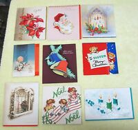 9 Vintage Greeting Card Christmas 1940-50s Candles Bells Poinsettia Flocking A13