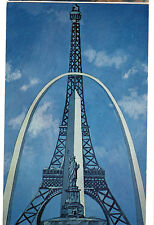 1960's postcard-Gateway Arch in Painting w/ Stat. of Liberty, Eiffel Tower, etc.