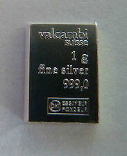 1g (1 gram) X 5 of Valcambi Suisse .999 Fine Silver Bullion Bar