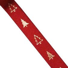 Red Satin Single Sided 10mm Ribbon with Gold Christmas Trees (H) *2 Metres*