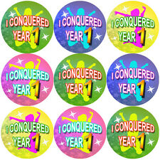 144 I Conquered Year 1 - End of Term Year K Teacher Reward Stickers Size 30 mm