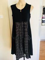 Ladies Black THREADZ Dress Size Medium 14-16 Smock Tartan Sleeveless