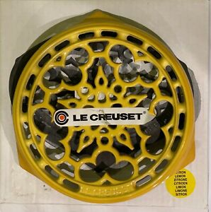 """Vintage Le Creuset cast iron Trivet 9"""" Lemon Yellow similar to Dijon NIB"""