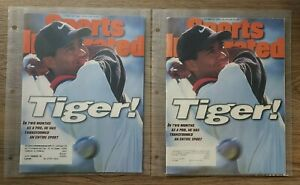 TIGER WOODS (2) Sports Illustrated Magazine rookie 1st Cover 10/28/1996