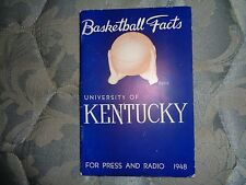 1947-48 KENTUCKY WILDCATS BASKETBALL MEDIA GUIDE 1947 1948 FIRST UK TITLE!!! AD