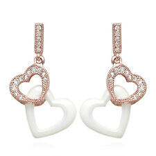 30mm Double Heart 18ct Rose Gold Filled And Ceramic White Drop Earrings.