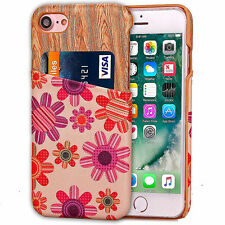 For Apple iPhone 7 Stylish Wooden Printed Wallet Case Cover Card Holder Cash