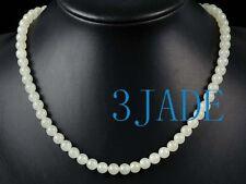 A Grade Hetian White Nephrite Jade Beads Necklace, w/ Certificate
