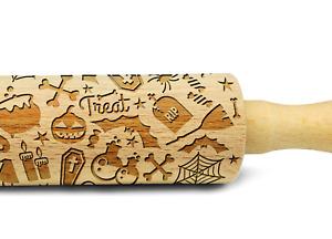 Engraved HALLOWEEN PATTERN rolling pin wooden laser cut embossing pattern