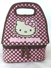 Hello Kitty Lunch Box/Bag Hot Cold Compartments Carry All Pink Dots w Brown E-56