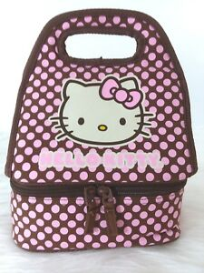 Lunch Bag 'Hello Kitty 'Hot/Cold Carry All  Brown w Pink Dots  E-56