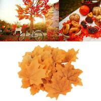 50PcsAutumn Maple Leaf Fall Fake Silk Leaves Craft Decor Party Wedding D3W5