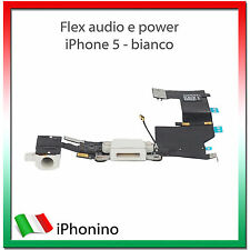 CONNETTORE CARICA DOCK MICROFONO RICARICA AUDIO FLEX PER APPLE IPHONE 5 BIANCO