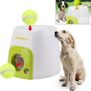 Pet Dog Treat Tennis Ball Toy Automatic Fetch Interactive Hyper Game Training