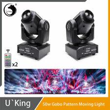 2Pcs U`King 50W Stage Lighting Led Dmx512 Remote Gobos Dj Disco Bar Party Lights