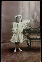 Vintage 1920s RPPC Photo Postcard Little Girl in Fancy Dress & Shoes Feather Fan