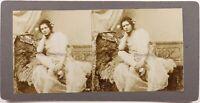Jeune Donna Seduta Posa Antico Artistico c1900 Foto Stereo Vintage Citrato