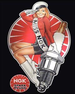NGK SPARK PLUGS MOTORBIKE MOTORCYCLE CAR GARAGE WORKSHOP MECHANIC METAL SIGN 356