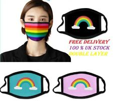 Face Mask Protective Covering Mouth Masks Washable Reusable Black Rainbow UK new