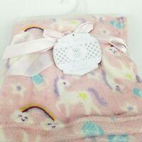 Unicorn & Rainbow Soft Pastel PINK Plush Blanket Baby 30 x 30 Gift Baby Shower