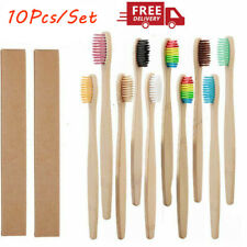 10Pcs Rainbow Wooden Toothbrush Eco-Friendly Bamboo Soft Fibre Teeth Brushes New